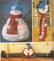 Oversized Snowman Doll Welcome Door Hanging Draft Dodger Sew Pattern - $11.99