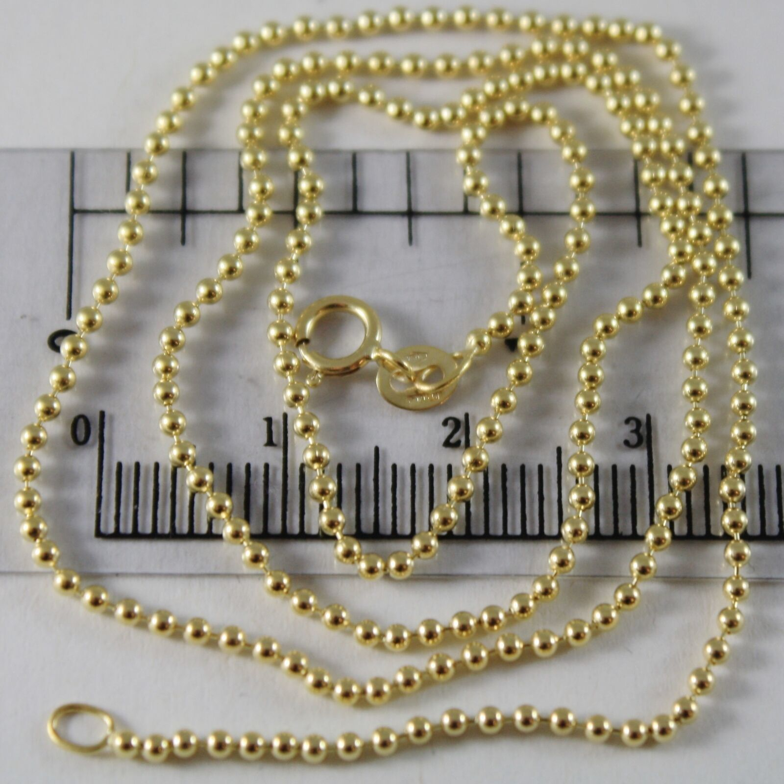 18K YELLOW GOLD CHAIN MINI BALLS BALL SPHERES 1.5 MM, 19.70 INCH, MADE IN ITALY