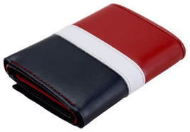 Tommy Hilfiger Men's Premium Leather Trifold Wallet Rfid Red Navy 31TL110022 image 4