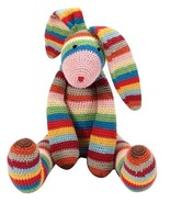 Rainbow Bunny Stuffed Animal Crochet Rabbit Hand Made Toy Striped Croche... - $29.65