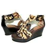 ✿ DONALD J PLINER Fame Leopard Calf-Hair Back-Zip Wedge Sandals 8.5 M L@... - $46.54