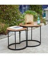 Modern Industrial Black Natural Set of 2 Wood Top Metal Patio Side Table... - $176.71