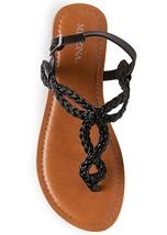New Women's Merona Jana Quarter Strap Flat Strappy Sandals in Black NWT image 2