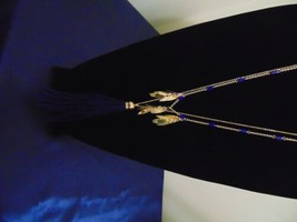 """Macys 31.5"""" w 3 """" ext. Gold-tone Blue Tassel And Leaf Long Chain Necklac... - $10.55"""