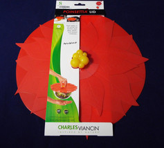 "Charles Viancin Silicone Red Poinsettia Lid 11"" 28 cm Christmas Winter H... - $29.99"