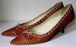 Prada Tan Cream Leather Top Stitch Pointed Toe Bow Mid Heel Pumps Size 37.5 - $83.79
