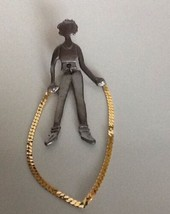 "4"" Signed Ultra Craft pewter girl jumping jump rope gold Dangle rope, le... - $34.00"