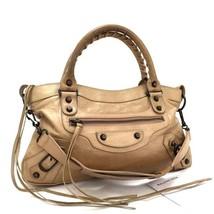[93917] Authentic Balenciaga Light Brown Genuine Leather Hand Bag Purse - $425.70
