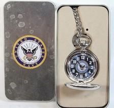 United States Navy Pocket Watch unisex silver tone analog H - $37.77