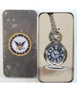 United States Navy Pocket Watch unisex blue face silver tone analog H30 - $47.77