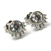 SOLID 18K WHITE GOLD STUD EARRINGS, SUN, CROWN, EYE, CUBIC ZIRCONIA, 0.3 INCHES image 2
