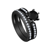 Black Gold Finish Pure 925 Sterling Silver Round Cut CZ Wedding Bridal Ring Set - $93.58