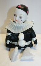 Vintage Porcelain Musical Sitting Mime ~ Hand Painted Animated Head - $19.79