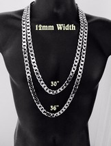 """Mens Silver 8mm 12mm Miami Cuban Curb Link Chain Necklace 24"""" 30"""" 36"""" in... - $8.59+"""