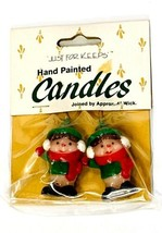 Vintage Wang's Just for Keeps Hand Painted Candles Christmas ELVES 1988 ... - $14.25