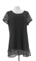 Isaac Mizrahi Mixed Lace Short Slv Tunic Black M NEW A288656 - $39.58