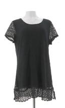 Isaac Mizrahi Mixed Lace Short Slv Tunic Black M NEW A288656 - $39.58