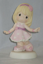 You're So Precious Moments Figurine Girl Pink Dress Sparkles Hearts Flow... - $46.52