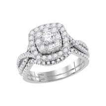 14kt White Gold Round Diamond Halo Bridal Wedding Engagement Ring Set 1.... - £1,239.04 GBP