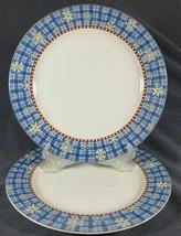 Sakura Snowflake Dinner Plates Lot of 2 Debbie Mumm Blue Plaid Rim Stoneware - $14.97