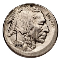 1936 Five Cent Buffalo Nickel 5C Broadstrike (About Uncirculated, AU Con... - $371.24