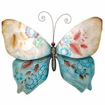 Eangee Home Designs Metal Handcrafted Butterfly Blue and Pearl Wall Decor - $46.99
