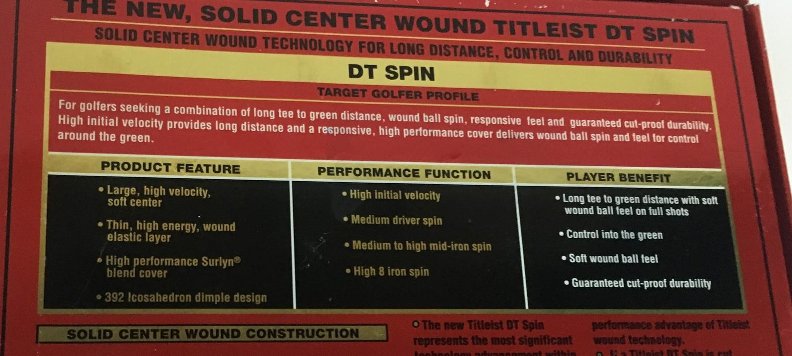 Titleist DT Spin Golf Balls One Dozen NIB