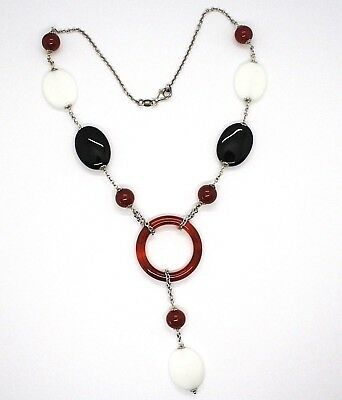 Silver 925 Necklace, Agate White, Onyx, Carnelian, Pendant, Chain Rolo '