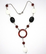 Silver 925 Necklace, Agate White, Onyx, Carnelian, Pendant, Chain Rolo ' image 1