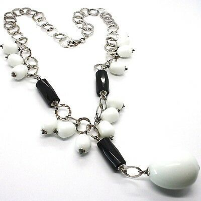 Necklace Silver 925, Onyx Black, Agate White Drop, Waterfall Pendant