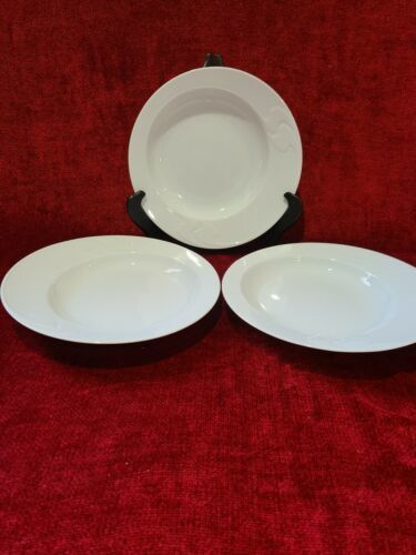 Primary image for Rosenthal Asymmetria White Set of 3 Rimmed Soup Bowls 9""