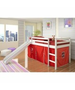 White Junior Loft Bed with Slide Red Tent Twin Size Wooden Bunk Kids Pla... - $368.18