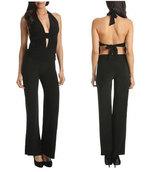 New Solid Black Jumpsuit sexy open back halter ( XS, S, M, L )