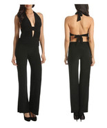 New Solid Black Jumpsuit sexy open back halter ( XS, S, M, L ) - $34.65