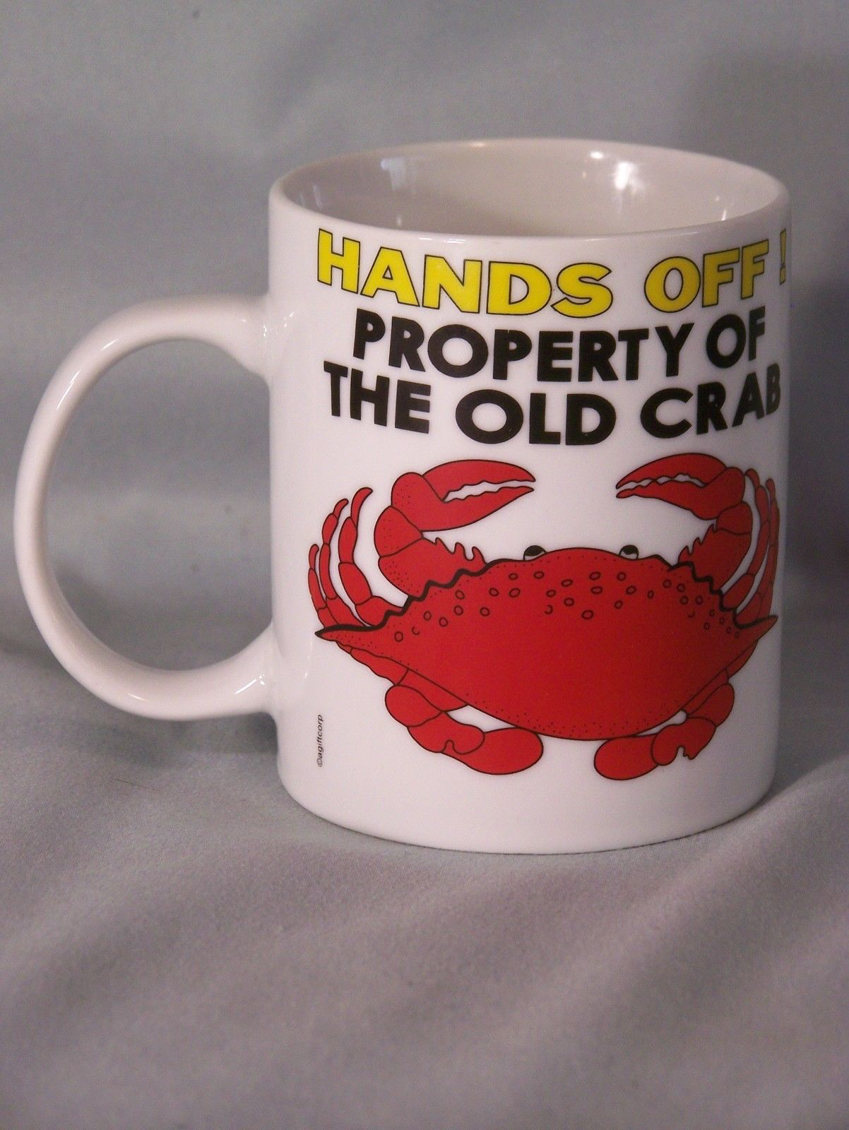 "HANDS OFF! Property Of The Old Crab coffee cup approx 3.8"" tall Ocean Shores, WA image 2"
