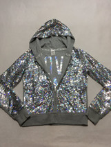Victoria's Secret Love Pink M Silver Sequin Front Zip Hoodie Fashion Sho... - $129.99