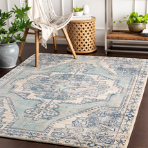 Transitional Traditional Medallion Aqua Teal Blue Area Rug **FREE SHIPPING** - €52,44 EUR+