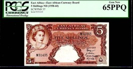 """East African Currency Board P37 5 Shillings 1958-60ND Pcgs 65PPQ Gem! """"Qe Ii"""" - $1,950.00"""