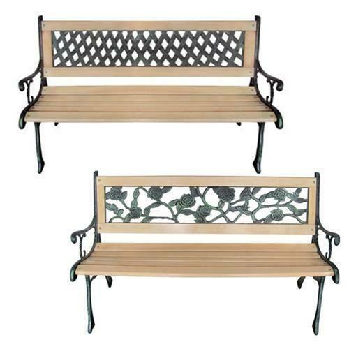 vidaXL Patio Wooden Garden Bench w/ Backrest Vintage Seat Diamond/Rose Design