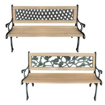 vidaXL Patio Wooden Garden Bench w/ Backrest Vintage Seat Diamond/Rose D... - $63.99+