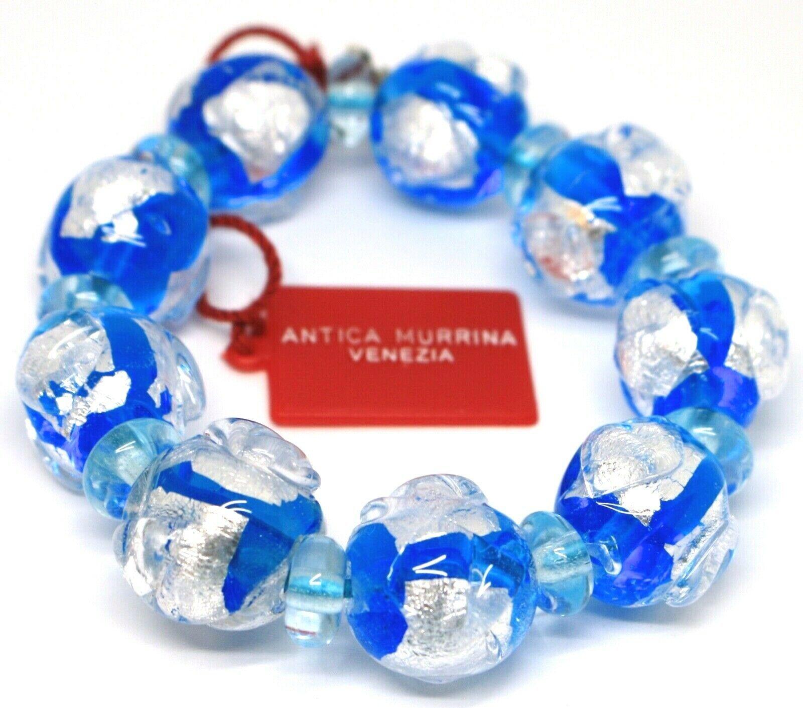Bracelet Antica Murrina Venezia, Murano Glass, Spheres Large Light Blue