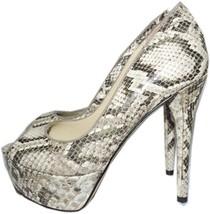 B Brian Atwood Natural Snake-Print Pumps Leather Platform Shoes 9 Slingb... - $79.99