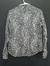 Chaps Womens Size Petite Large Black And White Cheetah Print Button Front Blouse - $17.59