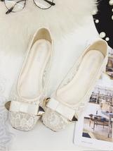 Ivory Lace Wedding Shoes/ Beige Lace Flat Shoes/ Off White Lace Flats Shoes - £24.42 GBP