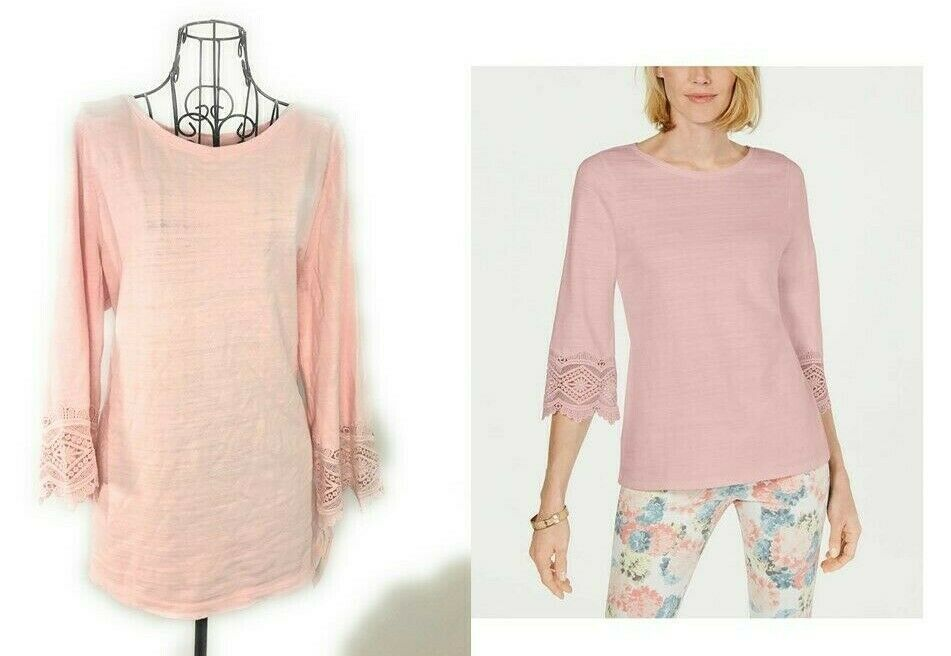 CHARTER CLUB Cotton Lace-Trim Misty Pink Top NWT - $34.20