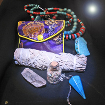 FREE W $220 OR MORE HAUNTED MAGICKALS CRYSTAL POUCH PENDULUM NECKLACE VIAL SAGE - Freebie