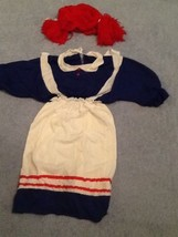 Raggedy Anne Rag Doll Womens Halloween Dressup Costume Dress &Wig  s-m - $39.59