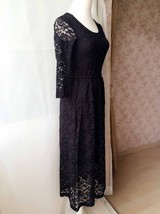 Black Crop Sleeve Stretch Long Lace dress BLACK Plus Size Lace Formal Dress NWT image 8
