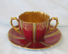 Aynsley Bullion Cup & Saucer 13127 Marron with Gold Inside - $59.29