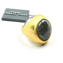 RING ANTICA MURRINA VENEZIA DISC WITH MURANO GLASS GRAY GOLDEN AN206A14 image 1